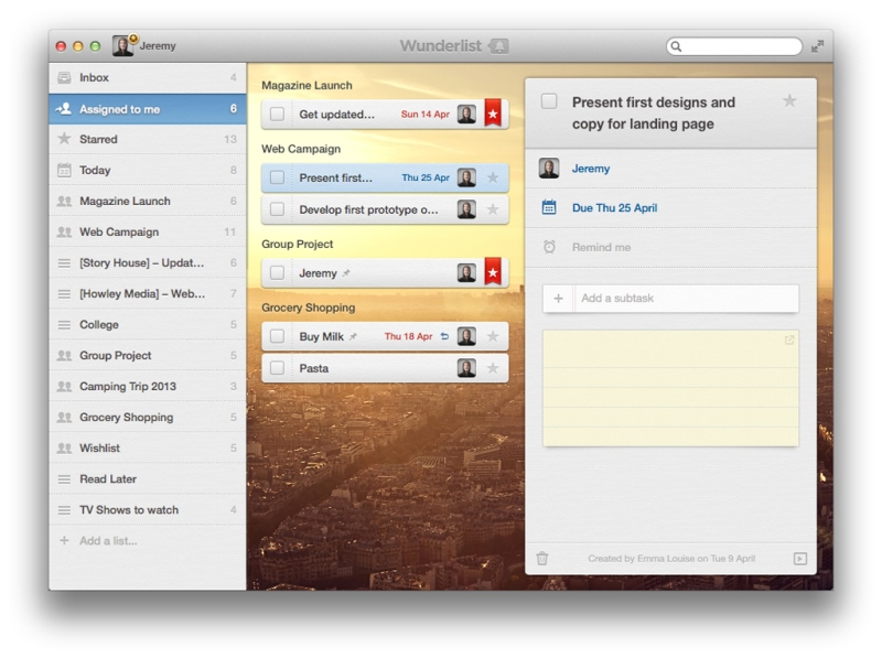 Wunderlist app screenshot - content queen