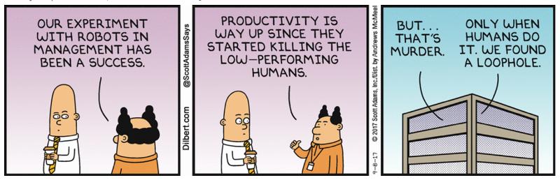 Dilebert robots in management